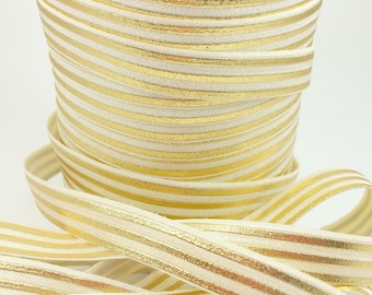 Cream gold metallic stripes fold over elastic, Printed FOE, 5/8 elastic, Headband elastic,  elastic by the yard