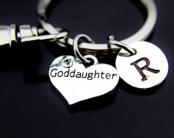 Goddaughter Keychain, Goddaughter Gifts, Goddaughter Jewelry, Perfect Gift for Goddaughter, Goddaughter Charm Keyring, Personalized Keychain