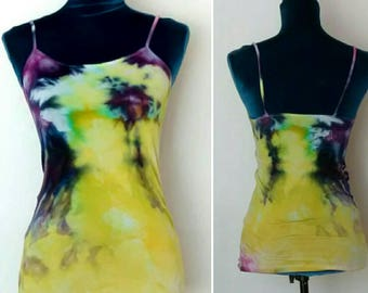 Hand Dyed Purple Indigo Yellow Tank Top size Small Chemise in Urchin colorway