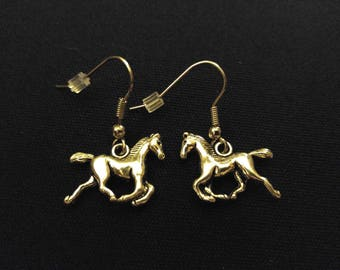 HORSE PONY Charm Earrings Stainless Steel Ear Wire Silver Metal Unique Gift