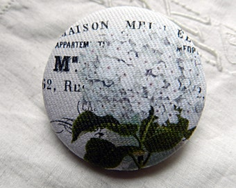 Button out of fabric, hydrangea, 1.57 in / 40 mm