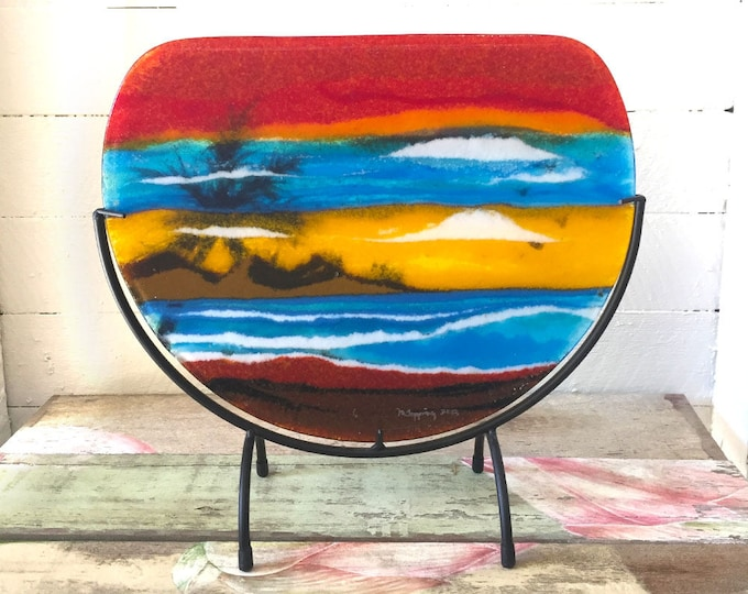 Sunset on the beach, glass fusing, glass art, layered glass, gift for friends