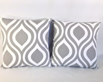 """Grey and White Drops 'Emily Twill Storm' Accent Pillow Cover SET of 2 With Zippers, 18"""" X 18"""""""