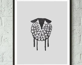 Black and White, Nursery Print, Sheep, Animal Print