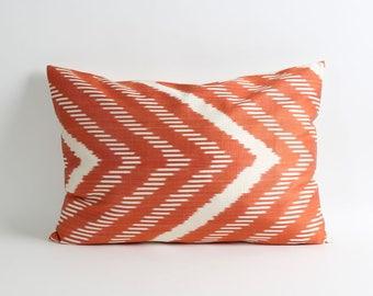 Orange terra cotta, ikat silk pillow cover, ikat cushion cover, pillow covers, ikat throw pillows, accent pillows