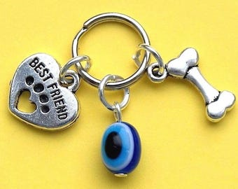Dog Collar Charm with Evil Eye Protection Bone & Best Friend Heart New LB13