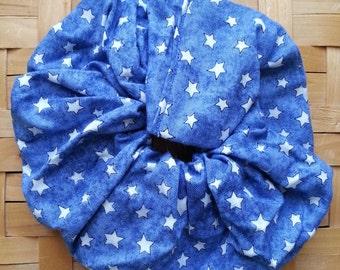 Denim blue with stars hair scrunchie