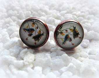 Cabochon Earrings Bird