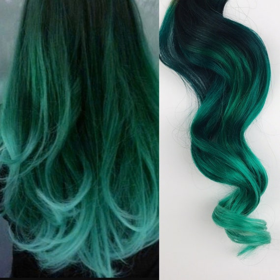 Green Hair Ombre Dip Dyed Hair Clip In Hair Extensions