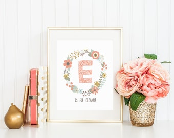 Nursery Name Wall Art Printable, Letter Initial Girl Tribal Baby Shower Gift, Coral Floral Personalized Bedroom Decor, Baby Keepsake