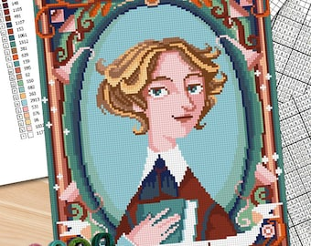 Counted stitch pattern -Jo MArch -Louisa May Alcott - Little Women -PDF and jpg (fullpattern image) Instant download