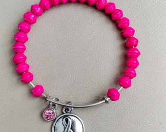 Pink breast cancer awareness bangle