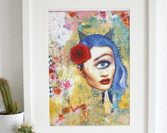 Blue-haired whimsical girl mixed media art print.