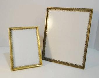 2 Vintage Gold Ornate Metal Frames Mid Century Scalloped Hollywood Regency Picture Photo Frames Easel Table Top Mantel Hanging Frames