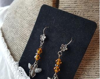Bumblebee and Swarovski Crystal Earrings/Bee Charm Dangle Earrings/Gardener's Gift/Bee Keeper/Save the Bees/ Honey Bee earrings