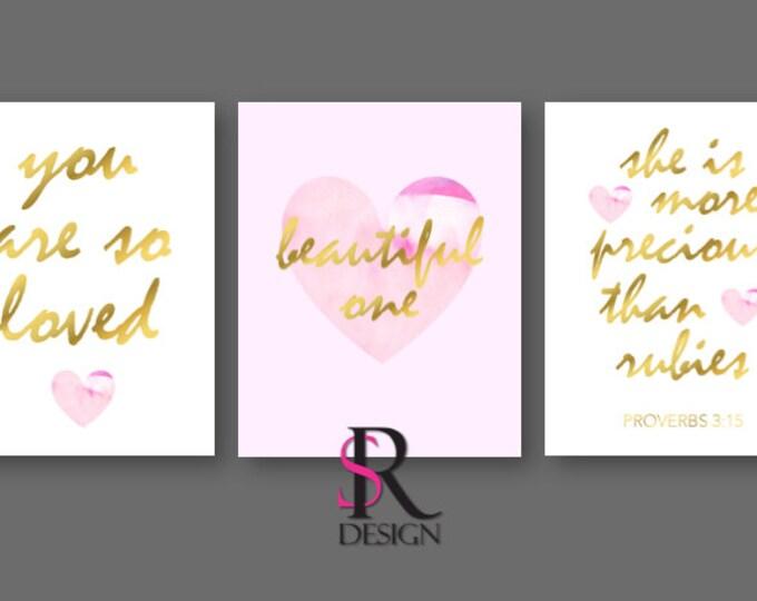 "Nursery Wall Art, Nursery Wall Printables, Pink Nursery, Pink Nursery Wall Art, Girls Room Art, Set of 3 8x10"""
