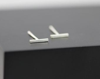 Short Bar Stud Earring, 6mm Sterling Silver Bar Earring, Minimal Line Earring