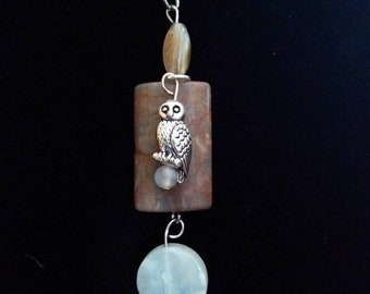 Jasper and Natural Sea Shell with Owl Pendant