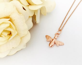 Rose Gold Necklace, Bee Necklace, Simple Charm Necklace, Dainty Layering Necklace, Everyday Jewellery, Boho Jewelry, Nature Mothers Day Gift