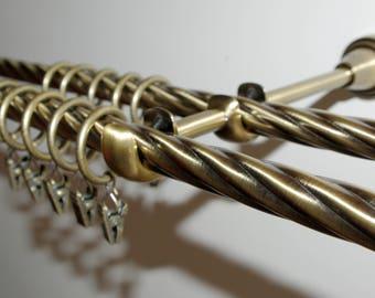 Antique Gold 'Twister' Curtain Rail/Pole Set Double - 140cm/16mm