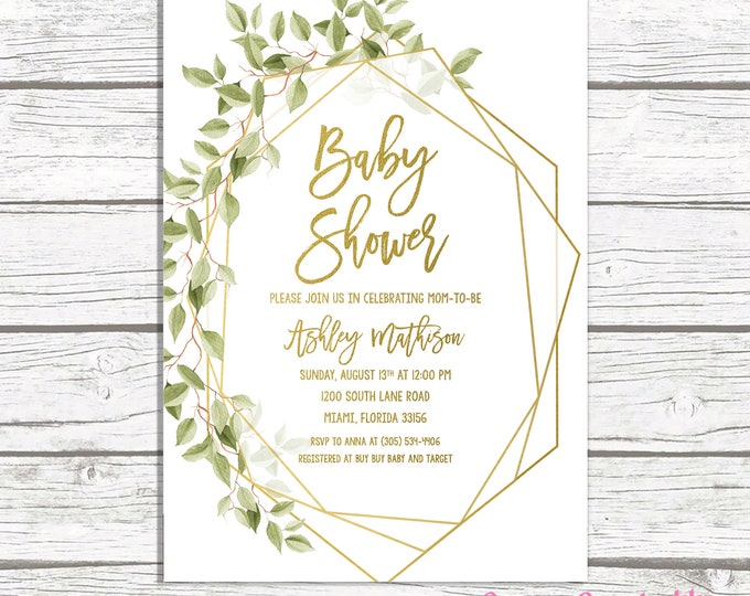 Baby Shower Invitation, Geometric Frame Invitation, Green Baby Shower, Gender Neutral Baby, Gold Baby Shower, Leaf Baby Shower Invite
