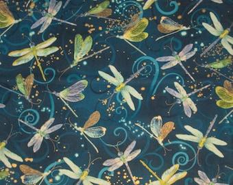 Dragonfly Dragon Fly Deep Blue Gold Thread Cotton Fabric Fat Quarter Or Custom Listing