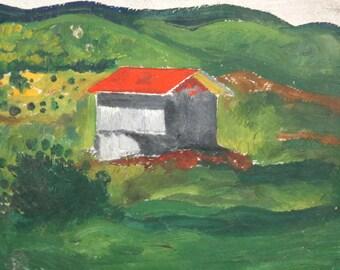 Landscape house vintage oil painting