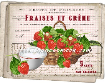 Printable Shabby French Strawberries and Cream Digital Kitchen Print Pillow Transfer Large Size Graphic Transfer