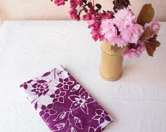 batik tea towel. flowers stripes magenta