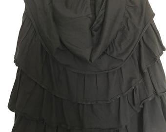 black tiered strapless mini dress