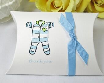 Baby Boy Shower Pillow Box, Baby Boy Favor Box, Baby Blue Favor Pillow Box, New Baby Favor Box, Baby Shower Favor, PJ Baby Shower Favor Box