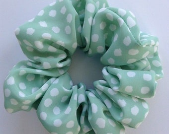 Mint Green & White Dotty Hair Scrunchie