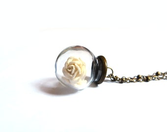 White Rose Necklace, Glass Orb Necklace, Rose Necklace, Glass Globe Necklace,Glass Orb Pendant, White Rose Pendant, Flower Glass Necklace