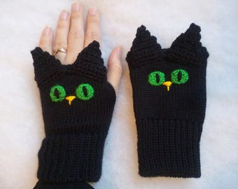 Free Shipping - Black Cats, Fingerless gloves,