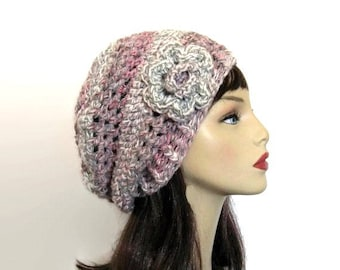 Pink Grey Slouchy Hat with Flower Gray Tweed Slouch Beanie Crochet Multicolor Beanie with Flower Pink and Gray Beanie crochet women's hat