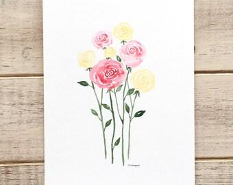 Pastel Watercolor Roses-Small