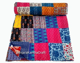 Patchwork Multi Cotton Kantha Quilt Kantha Throw Bedspread Bedsheets Bedcover Blanket Baby Quilt Sheet Queen Size King Size Hand home decor