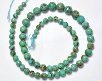 16 Inches Strand Natural Arizona Turquoise, Sleeping Beauty Turquoise Beads, Faceted Round Beads, Arizona Turquoise, 5mm - 8.5mm