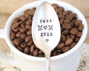 Best Mom Ever - Handstamped Spoon - Mother's Day - Coffee Tea Ice Cream - Vintage Silver Plated Silverware - Mothers Day Gift Gifts for Her
