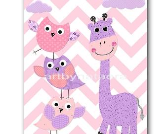 Pink and Purple Baby Room Decor Baby Girl Nursery Art Decor Baby Nursery Decor Kids Wall Art Kids Art Giraffe Nursery Baby Girl Print