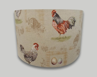 Vintage French Hens Chickens Drum Lampshade Lightshade Lamp shade 30cm 35cm 40cm 50cm