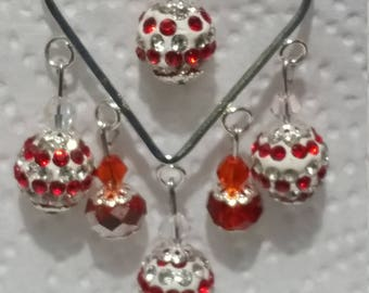 silver-plated red swarovski crystal earrings
