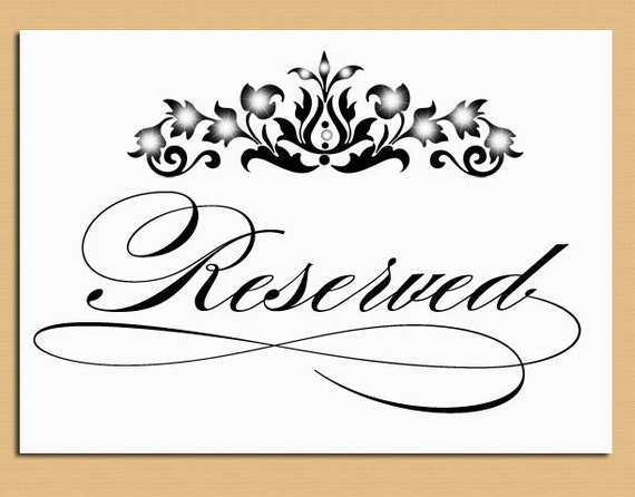 Reserved Table Sign Wedding and Event Signage Printable