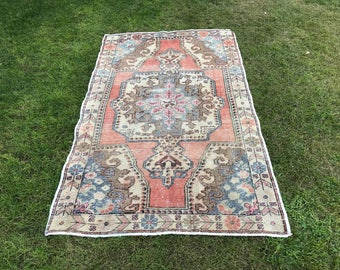 7.05x4.13 feet Turkish Oushak rug, hand woven anatolian rug, overdyed turkish rug, zero pile renew rug