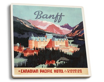 Alberta Canada Banff Springs Hotel - Vintage Ad (Set of 4 Ceramic Coasters)