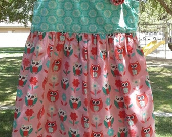 Turquoise and peach colored Dress, with owls