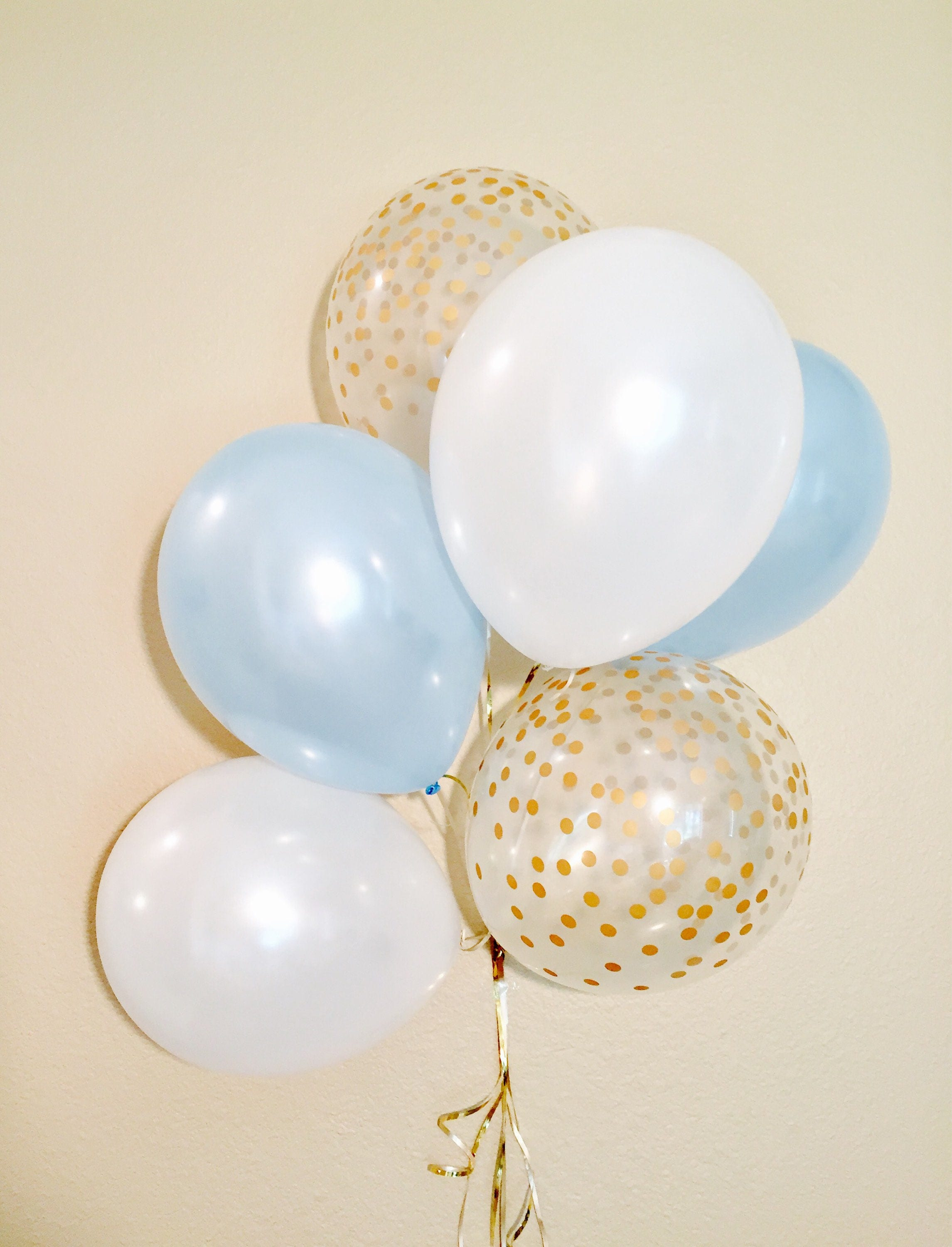 Baby Blue And White 10 Year Bedrooms: Light Blue And Gold Confetti Look Balloons Blue Baby Shower