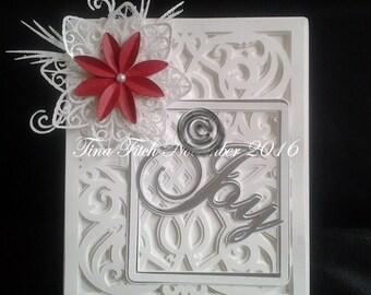 JOy Poinsettia Card, SVG,Cameo,Silhouette,MTC,Scal,Cricut
