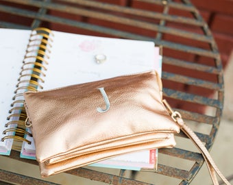 Bridal Pack Monogrammed Crossbody Clutch | Vegan Leather Clutch | Ladies Crossbody | Monogram Clutch | Monogram Wristlet Wallet | Monroe