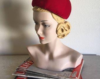 Vintage 1950's 60's I.Magnin Red Velvet Hat